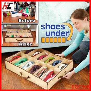 Eco Friendly Cheap Foldable Closet Organizer Under Bed Storage Holder Box Container Case Store For 12 Shoes