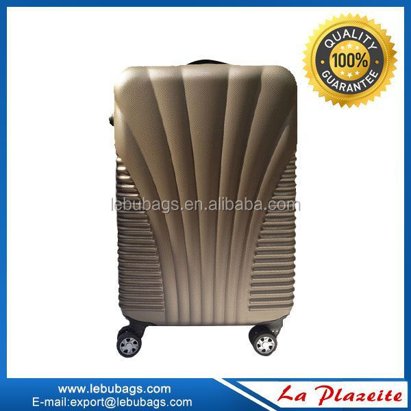 Travel style aluminum trolley cabin size luggage travel bags, 4 wheel trolly abs bag
