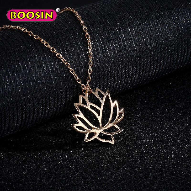 Factory direct wholesale sterling silver 925 yoga lotus flower rose gold pendant charm