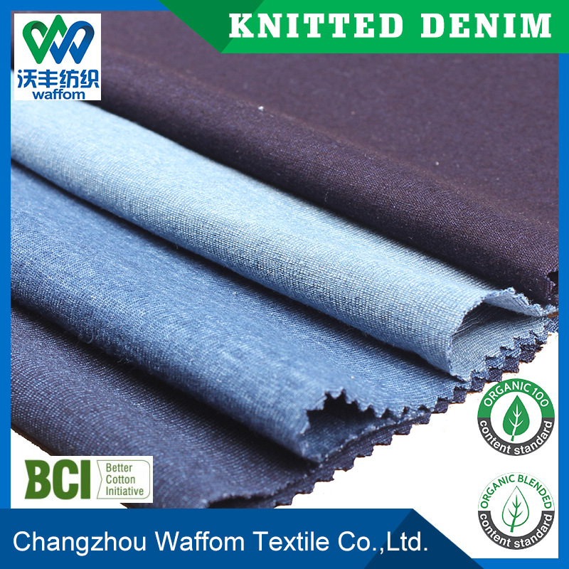 spandex and cotton jersey knit denim fabric for interlock