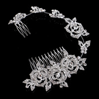 Luxury Tiara Flower For Hair Rhinestone Bridal Wedding Rose Hair Barrette Accessories Head Chain Jewelry