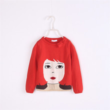UVX34 Latest Deisgn New Girls Embroidery Figure Hand Knitted Kids Winter Sweater
