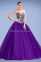 Free shipping purple sweetheart a line princess lace up back beaded bodice quinceanera dresses with detachable skirt