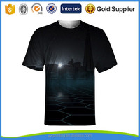 New Pattern Design Sublimation All Over Print Unisex Dri-fit Short Sleeve Black 3d Tee Shirt