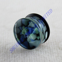 Blue And Green Pebble Inlay Pyrex Glass Single Flared Ear Plugs Tunnel Gauge Piercing Body Jewelry Wholesale Alibaba