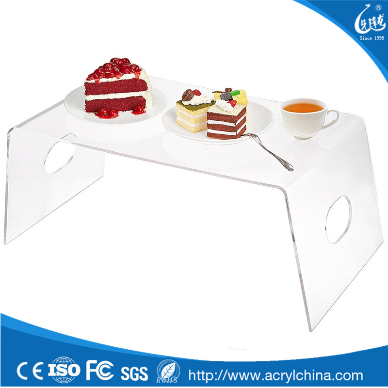 Beautiful Clear Acrylic Breakfast in Bed Serving Tray with Handles Display Stand