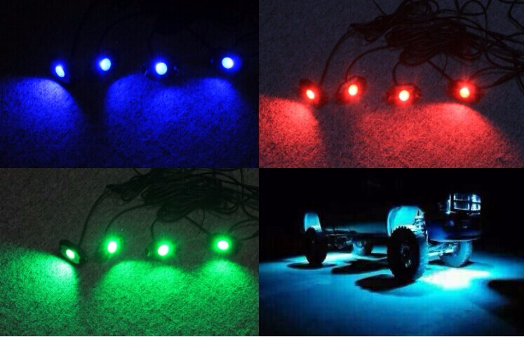 Factory price 4 pod 9W RGB LED car Rock light kit under car
