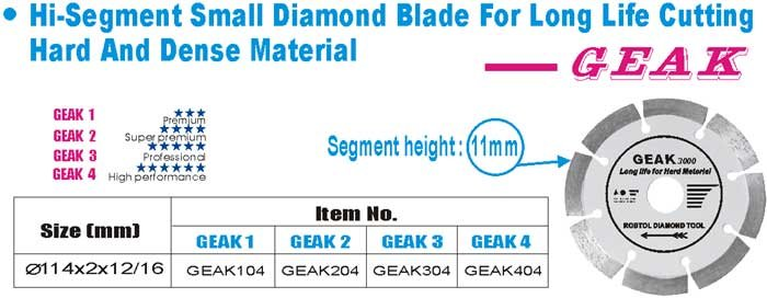 Hi-Segment Small Diamond Blade for Long Life Cutting Hard And Dense Material-Lucy song
