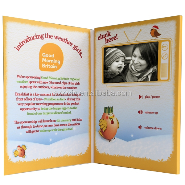 "4.3"" LCD video brochure/video greeting card for business promotion"