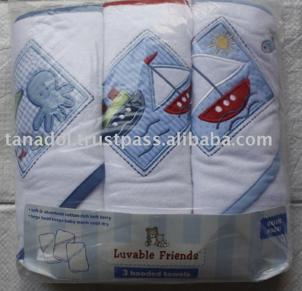 Hamco : 3 pack hooded towel set,baby clothing,babys wear/new order