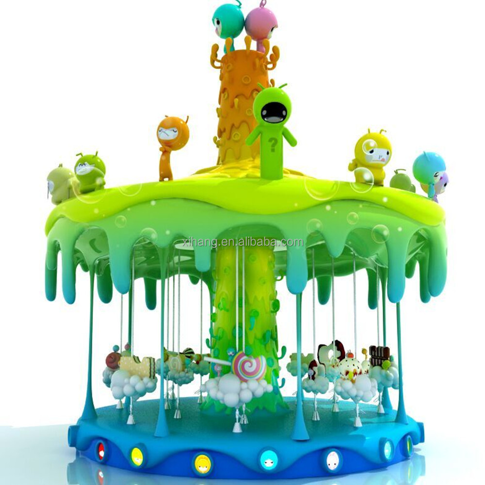 Hot Sale! Theme Park Recreational facilities 12 rides sweet candy carousel animals for sale