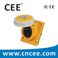 CEE IP67 Industrial Panel Mounted Socket Angled, 16A, 32A, 2P+E, 110V