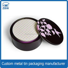 Lady cupcake tin circle gift packaging tin box/cans round metal biscuit tins