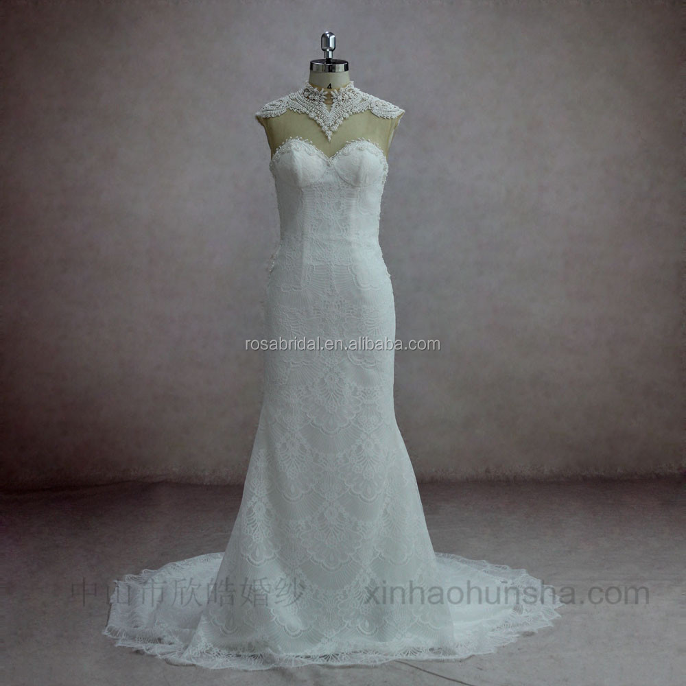 XY-16172 Heavy olivet beaded illusion back guangzhou wedding dress bridal gown