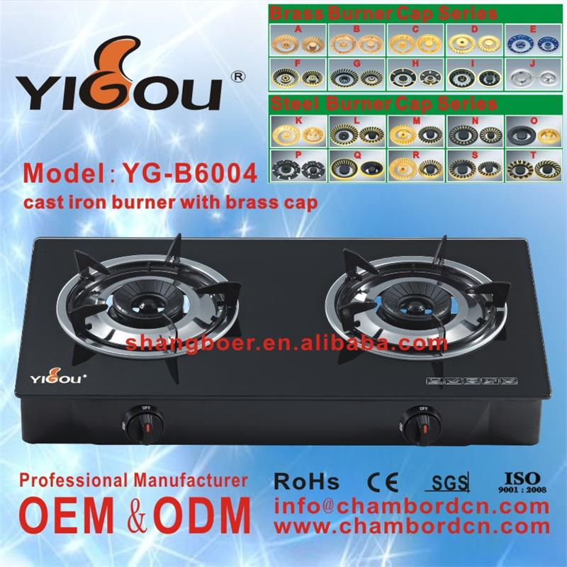 YG-B6004 2 burner glass top gas cooktop names of all appliances