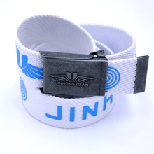 custom print men woven web canvas removable buckles belt with bottle opener on the back