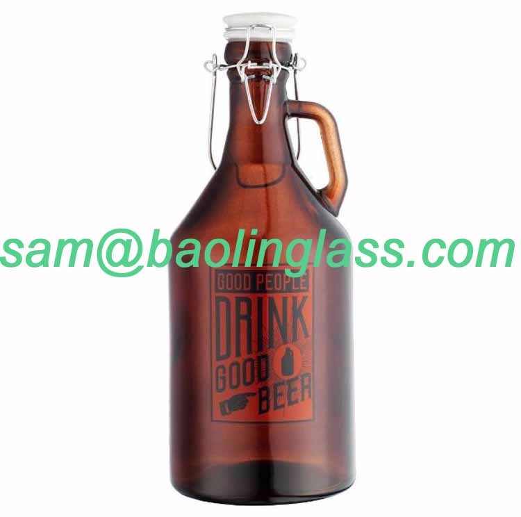 2L 64oz Glass Growler for Beer HALF Gallon with Hermetic Seal Ceramic Lid
