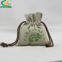 small linen jewelry pouch / drawstring jute linen bag