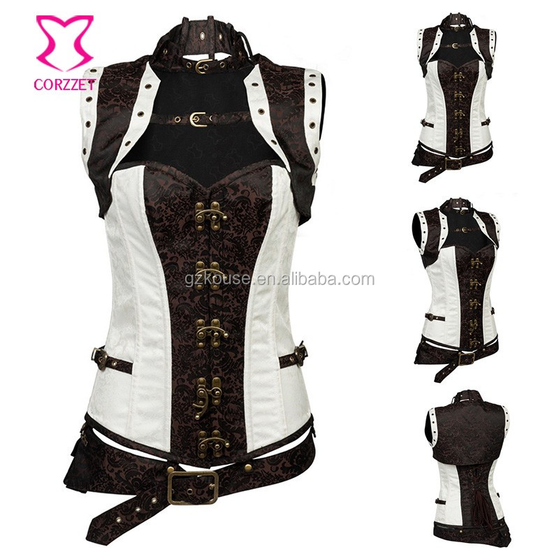 Corzzet Beige Leather Steel Boned Overbust Steampunk Corset And Jacket