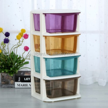 4 layers colorful transparent plastic drawers