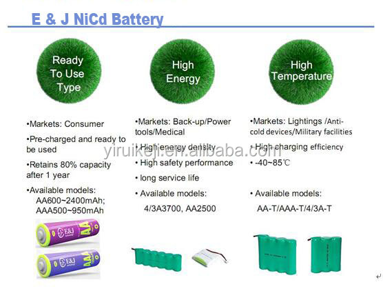 High-temperature Ni-Cd SC 1800mAh 4.8V with connector for emergency light nickel cadmium battery