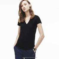 Wholesale OEM blank ladies deep v neck polo shirt