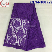 Latest coming elegant design girls dress turkey lace/fashion embroidery cord lace with pearls/cotton purple guipure lace fabric