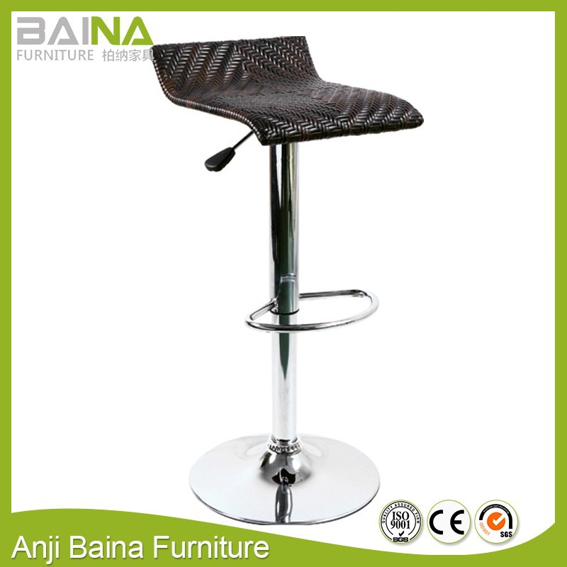 Brown high quality manual oblate rattan bar chair