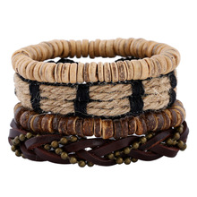 Vintage DIY coconut shells genuine leather bracelet set for men