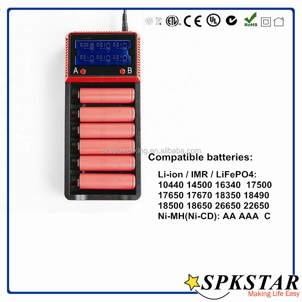 2016 New design 6slot intelligent 18650 li-ion battery charger,rechargeable battery charger