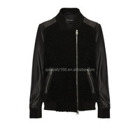 High Quality Fashion Women Lady Jacket Contrast PU with Pockets in Black Outer wear Fall and Winter Jacket