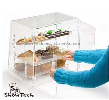 High clear bread display cabinet,hot fresh food showcase rack for sale