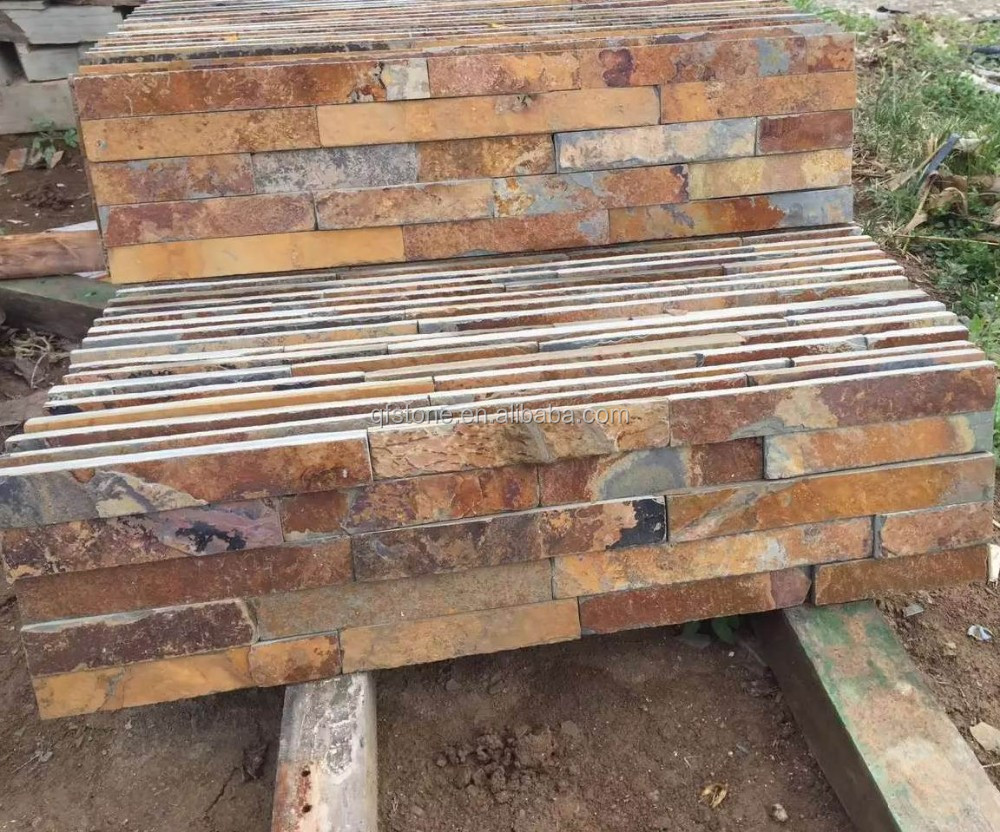 Cheap Stacked Stone Natural Interior Rusty Slate Stone