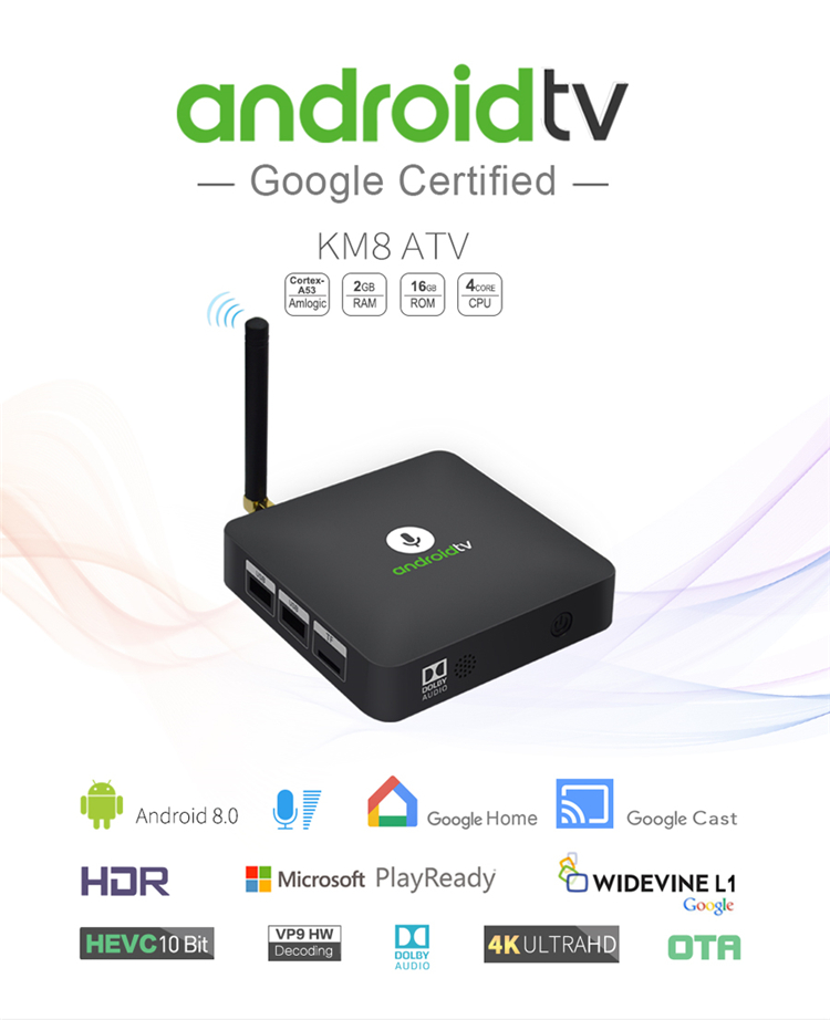KM8 wifi android tv box 2019 android smart tv box with 2gb ram 16gb rom km8 atv  HDD Player