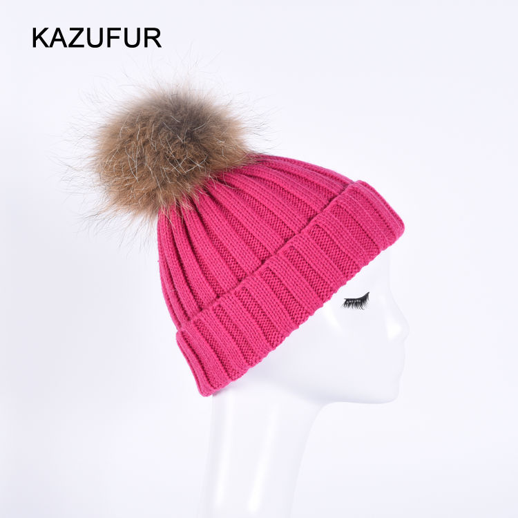 Bright fuchsia color winter wool knitted hats with big fur ball on top KZ160074