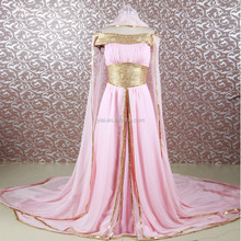 RSE646 Gold Sequin Muslim Women Cape For Evening Dress Of Chiffon Peach Color
