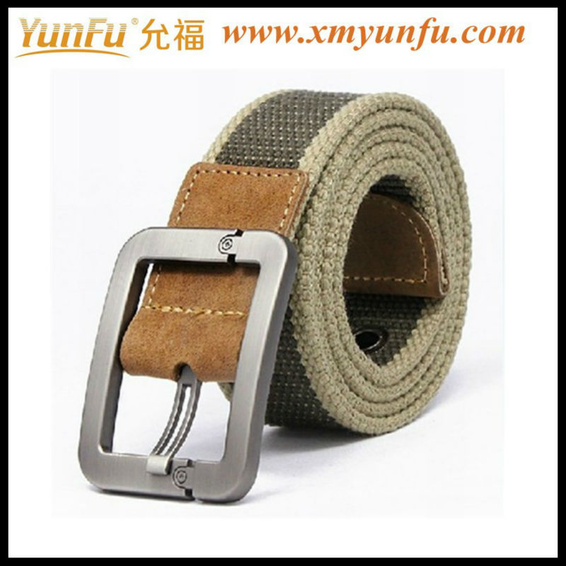 Wholesale Custom mens military canvas belt With Brushed Metal Buckle