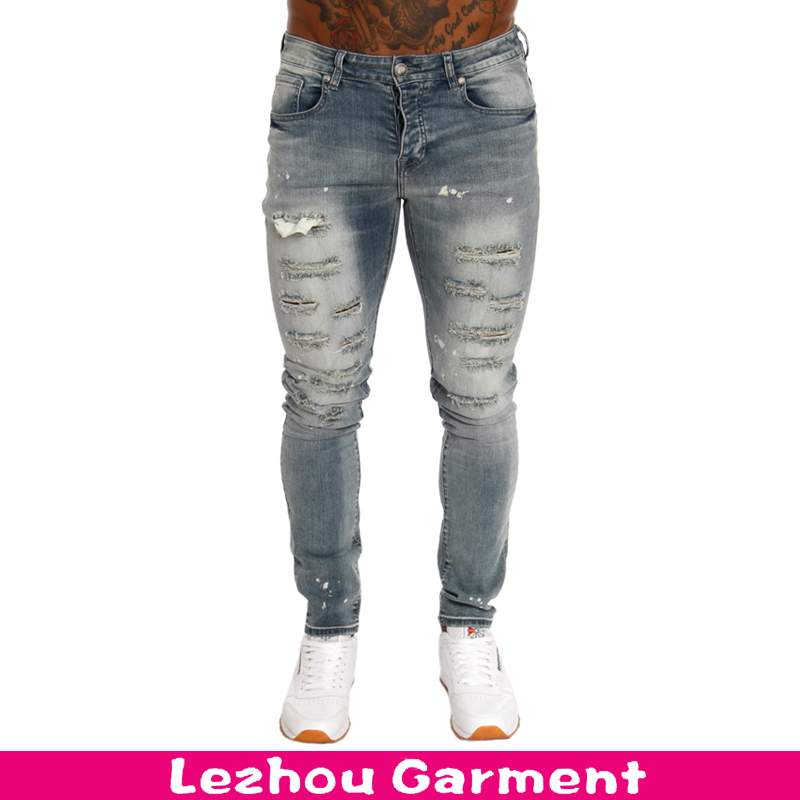 Hot sale newest design slim fit men jeans with rips and paint splat