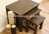 solid oak ladder nest table/three tables