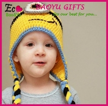 Hot sale baby hats yellow cartoon baby hats mini baby knitted hats