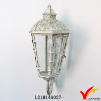 Shabby White Indoor Decorative Wall Sconces Wall Candle Lantern