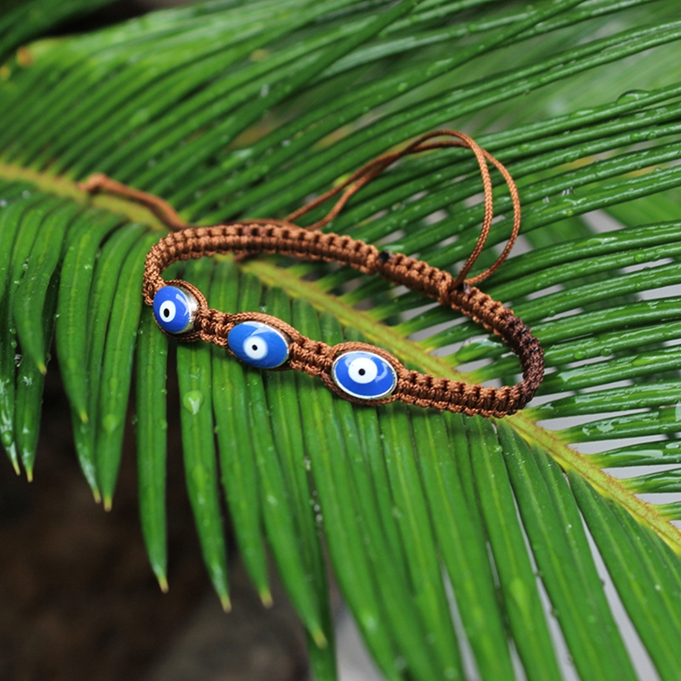 Turkish Three Blue Evil Eye Charm Friendship String Bracelets Unisex Wholesale