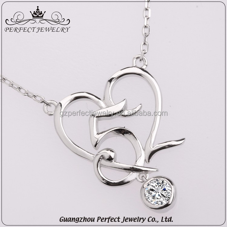Wholesale Women Accessories 520 Heart Shaped 925 Sterling Silver Fashion Jewellery Necklaces