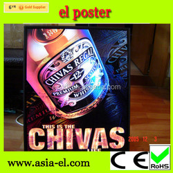 customized el beer posters/led lighted sign/el advertisement