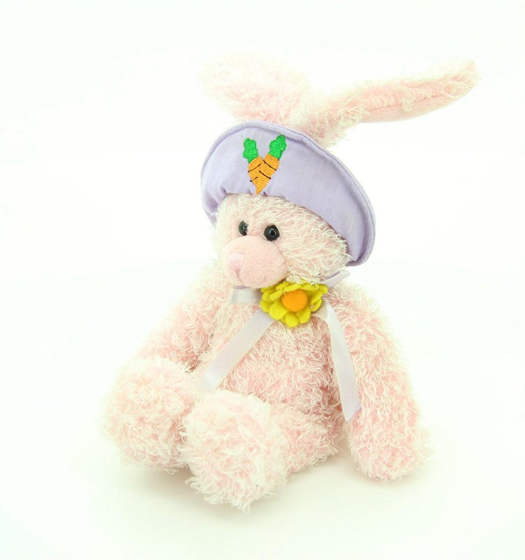 top quality stuffed bunny dolls rabbit plush toys easter gifts with hat