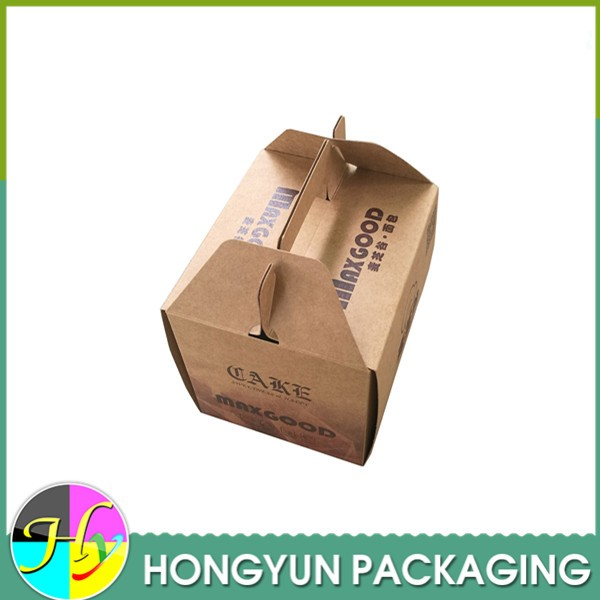 natural color corrugated cardboard cake box with handle
