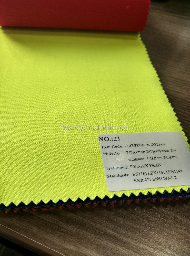 75/24/1 fire retardant & Hivisible and anti-static fabric pass EN20471 315gsm