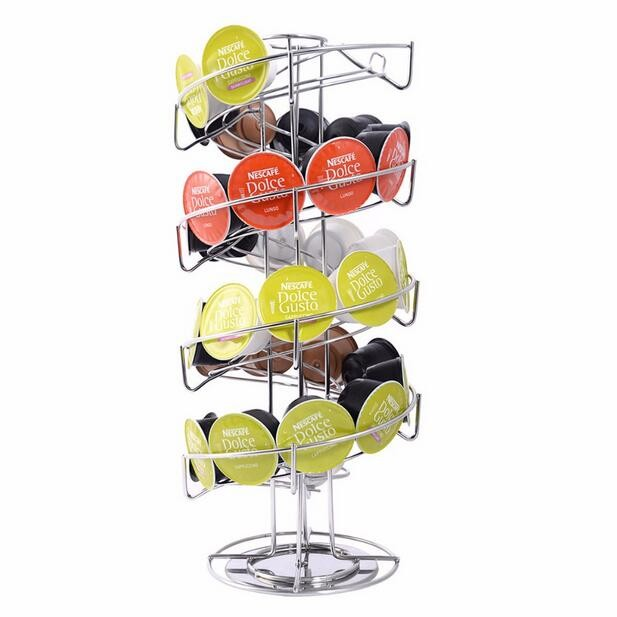Tower Stand Rack For Revolving Rotating 24 Capsule Coffee Pod Holder