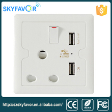 South africa double gang socket outlet wall socket with double usb charging,metal clad plug wall socket lock