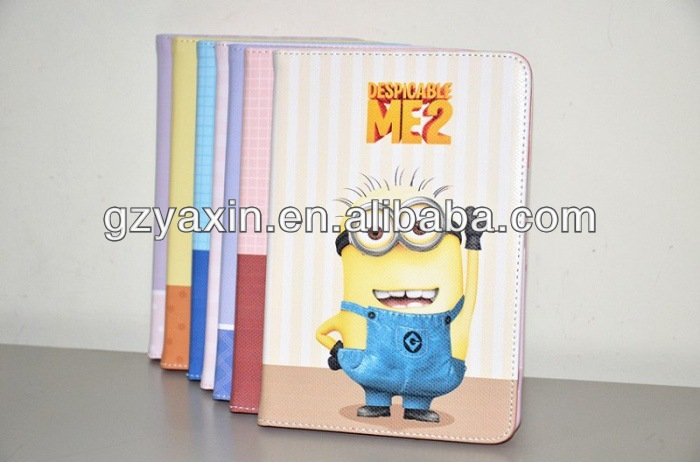 cartoon despicable me case for ipad,leather cases for new ipad